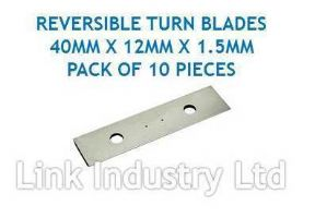 10 pces. 40 x 12 x 1.5mm CARBIDE REVERSIBLE TURN BLADES REVERSIBLE TIP KNIVES